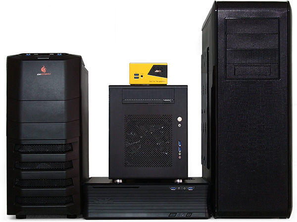 Computer Case form factors- Full Tower (Extreme right) Small Form Factor (Center), Horizontal Desktop (Bottom Center), Mid Tower (Extreme Left)