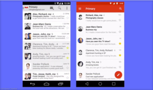 Android's Gmail app, before and after the new Material Design interface.